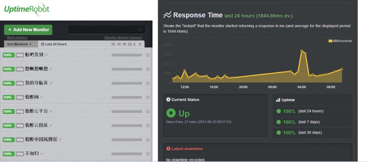 Uptime Robot站点正常运行监控器/网站监控器